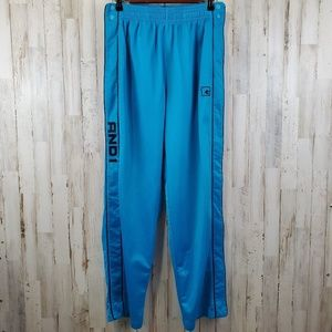 AND1 Mens Warm Up Athletic Pants M Blue Full Snap